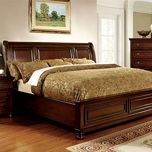 Northville Traditional Elegant Style Cherry Finish Cal King Size Bed Frame (Cal King Bedroom Furniture)