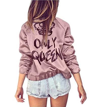 6bf025946 Hot Sale! Paymenow Women Teen Girls Only Queen Letter Print Crown Long  Sleeve Coat Outwear Autumn Winter Zipper Casual Jacket
