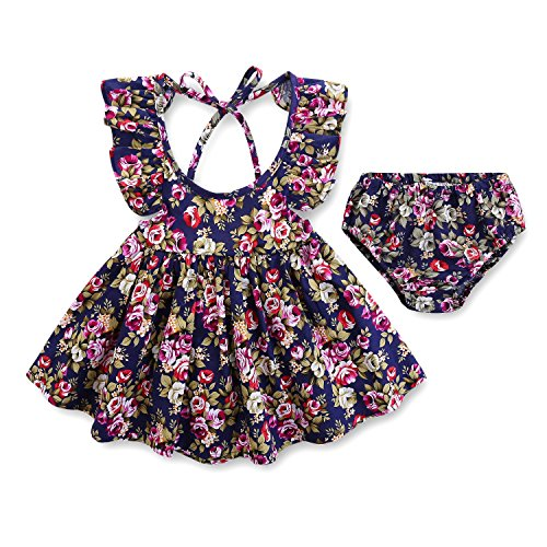 Betsy Betsy's Baby Girl Infant Newborn Casual 2-Piece Summer Purple Foral Dress Set With Briefs(0-3 Months)