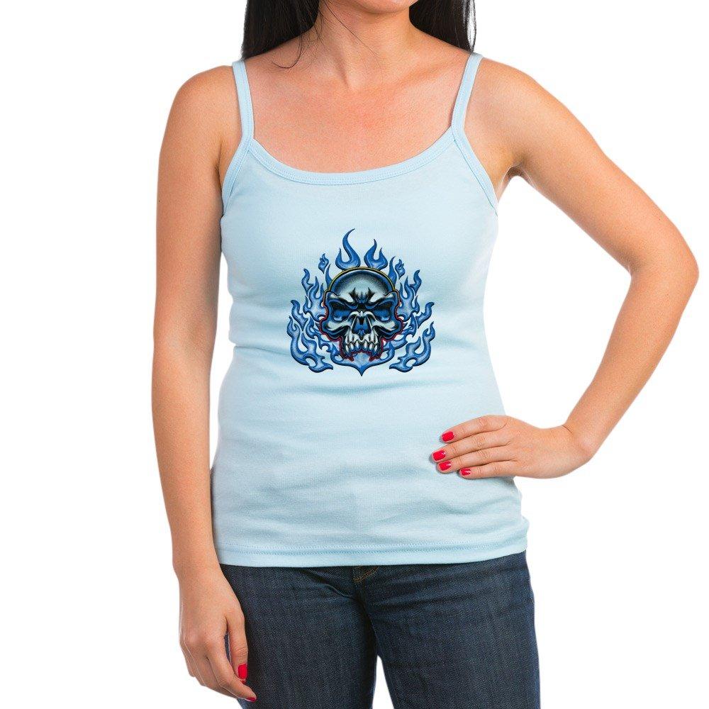 Spaghetti Tank Skull in Blue Flames Royal Lion Jr