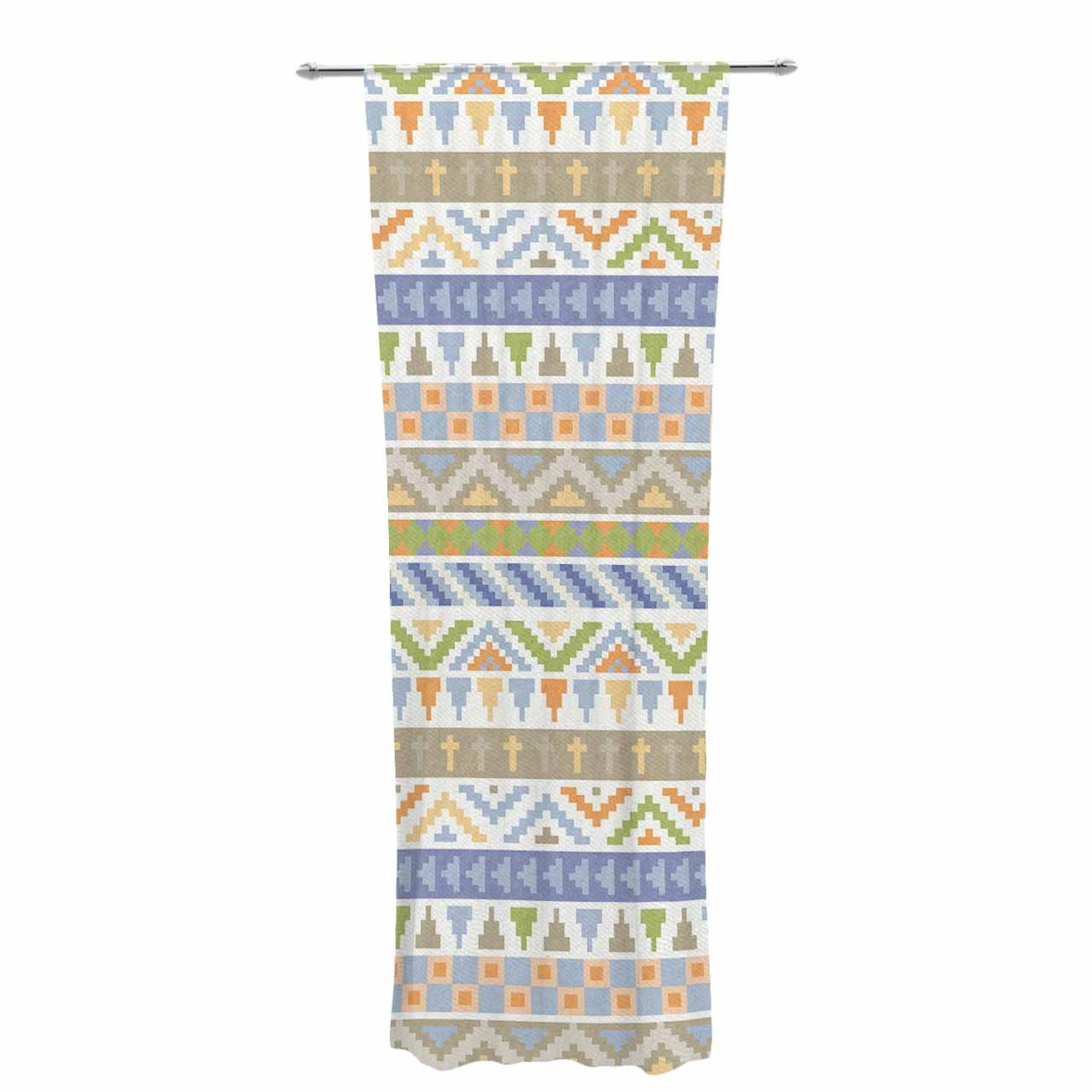Kess InHouse Sheer Curtains Noonday Design Happy Tribal Pattern 30 x 84