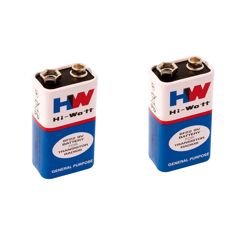 Generic 6F22 29312 HW Long Life Zinc Carbon Battery, Hi-Watt, 9V, 6F22M, Zinc Carbon, Long Life, General Purpose, Batteries, Set of 2, Multi Color