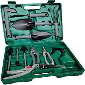 TOORGGOO Gardening Tools Set 13 Pieces,Ergonomic Handle Trowel Rake Weeder Pruner Shears Sprayer, Garden Hand Tools with Carrying Case Gardening Gifts for Women