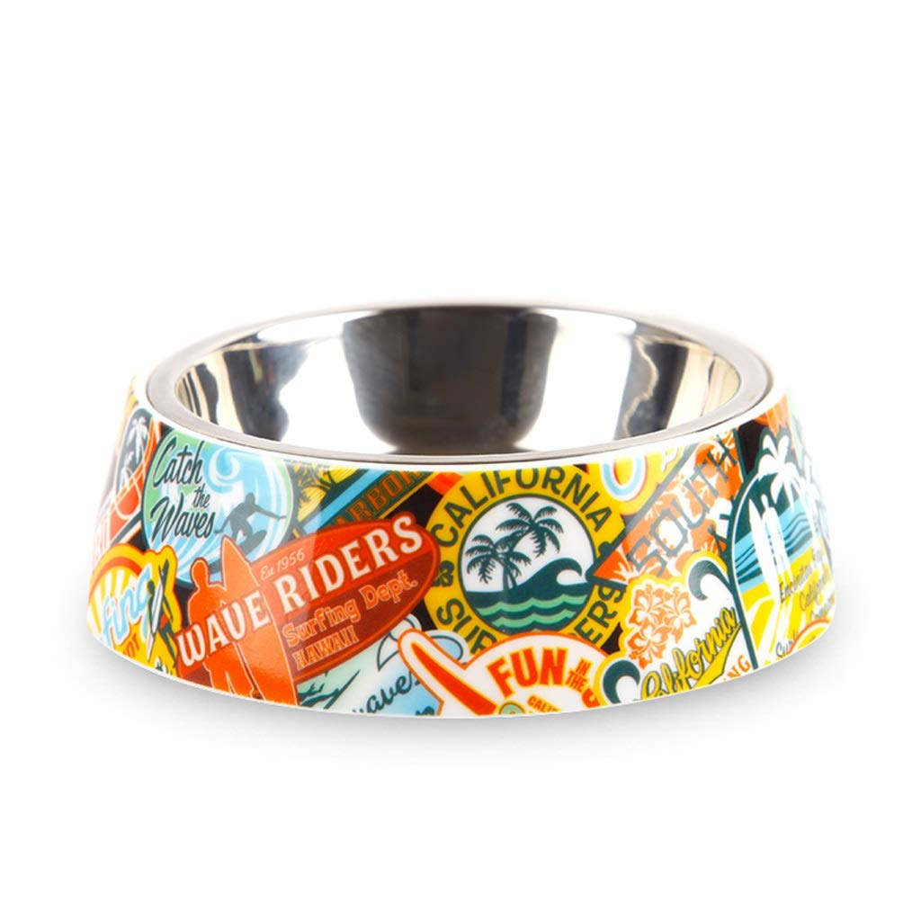 S CXQ Dog Bowl Pet Bowl Dog Food Bowl Stainless Steel Non-Slip Double Layer Single Bowl Cat Bowl Cute Yellow Pet Supplies (Size   S)