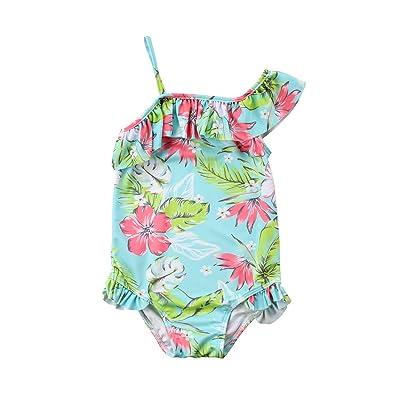 Baby Girls Off Shoulder Ruffles One Piece Bikini Floral Bodysuit Swimwear Swimsuit Bathing Suit
