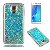 Fit for Samsung Galaxy S5 / S5 Neo Glitter Case with Screen Protector,OYIME [Blue Sequins] Shiny Bling Luxury Design Clear Ultra Thin Soft Rubber Protective Back Cover Transparent Scratch Resistant Drop Protection Bumper