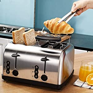 PUBUBU Breadmakers, Toaster Stainless Steel Breakfast Toaster Driver Home Automatic 2 Slice Toaster-Red 2 Piece Machine (Color : 2)