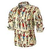 OWMEOT Men's Fashion Slim Fit Dress Shirt Casual Shirt (Khaki, 4XL)