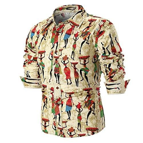 OWMEOT Men's Fashion Slim Fit Dress Shirt Casual Shirt (Khaki, 4XL) by OWMEOT