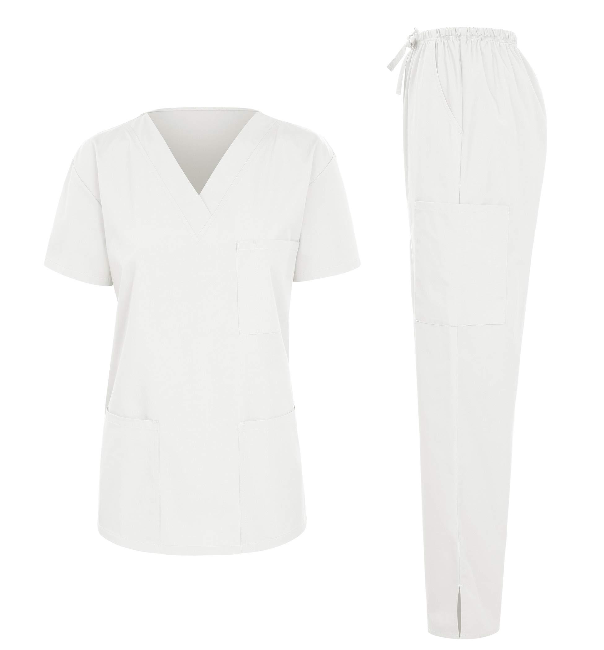 7047 Women's Medical Scrubs Set (V-Neck Top+Drawstring Pant) White XSmall