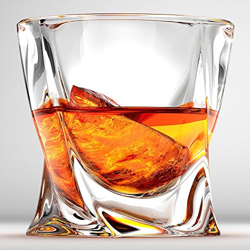 Twist Whiskey Glasses, Scotch Glasses By Ashcroft - Set Of 2. Unique, Elegant, Dishwasher Safe, Glass Liquor or Bourbon Tumblers. Ultra-Clarity Glassware. (Glass Liquor)