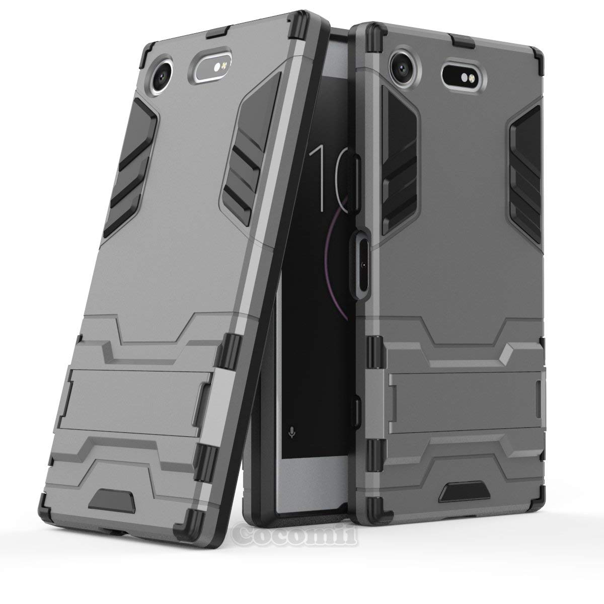 Cocomii Iron Man Armor Sony Xperia XZ1 Compact Case New [Heavy Duty] Premium Tactical Grip Kickstand Shockproof Bumper [Military Defender] Full Body Rugged Cover for Sony Xperia XZ1 Compact