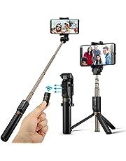 Bluetooth Selfie Stick Stativ, BlitzWolf 3 in 1 Erweiterbar Monopod Wireless Selfie-Stange Stab 360°Rotation mit Bluetooth-Fernauslöse für iPhone Android Samsung 3,5-6 Zoll Smartphones(Schwarz)