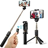 Selfie Stick Tripod with Remote for iphone 6 6s 7 plus Android Samsung Galaxy S7 S8 Plus Edge BlitzWolf 3 in 1 Mini Pocket Extendable Monopod 3.0 Aluminum Alloy 360 Degree Rotation