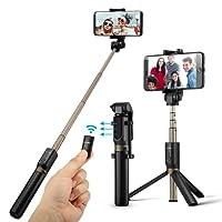 Perche Selfie Trépied avec Télécommande pour iPhone X/ 8/ 7/ 7 plus/ 6s/ 6, Samsung Galaxy, Android Smartphones 3.5-6''- BlitzWolf 3 en 1 Extensible Poche Selfie Stick Durable Cadre en Aluminium 360° Rotation