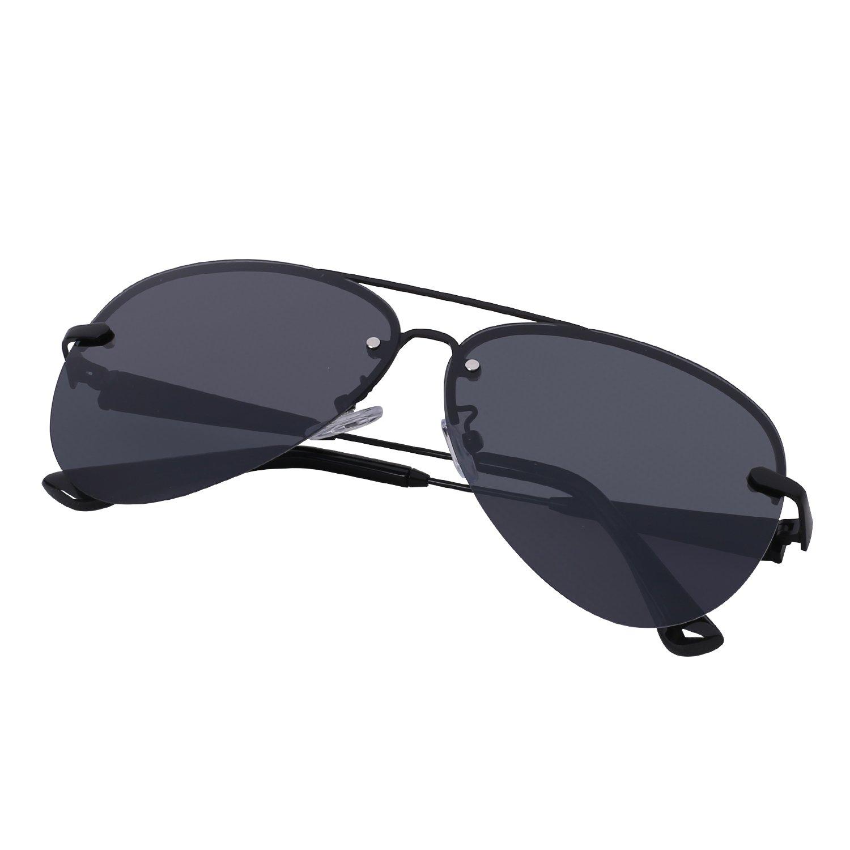 a2711c3084 Amazon.com  Premium Military Style Rimless Classic Aviator Sunglasses for  Men - Driving Sunglasses