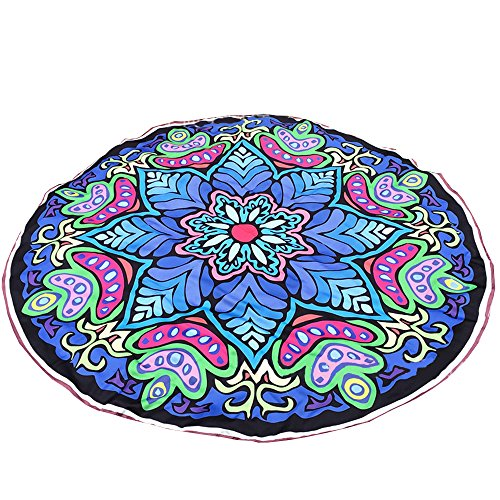 Round Blue octagon flower Mandala Roundie Boho Picnic Hippy Boho Gypsy Cotton Tablecloth (Octagon Table Cloth)