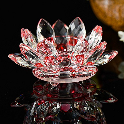 - Hot Sale!DEESEE(TM)7 Colors Crystal Glass Lotus Flower Candle Tea Light Holder Buddhist Candlestick (G)