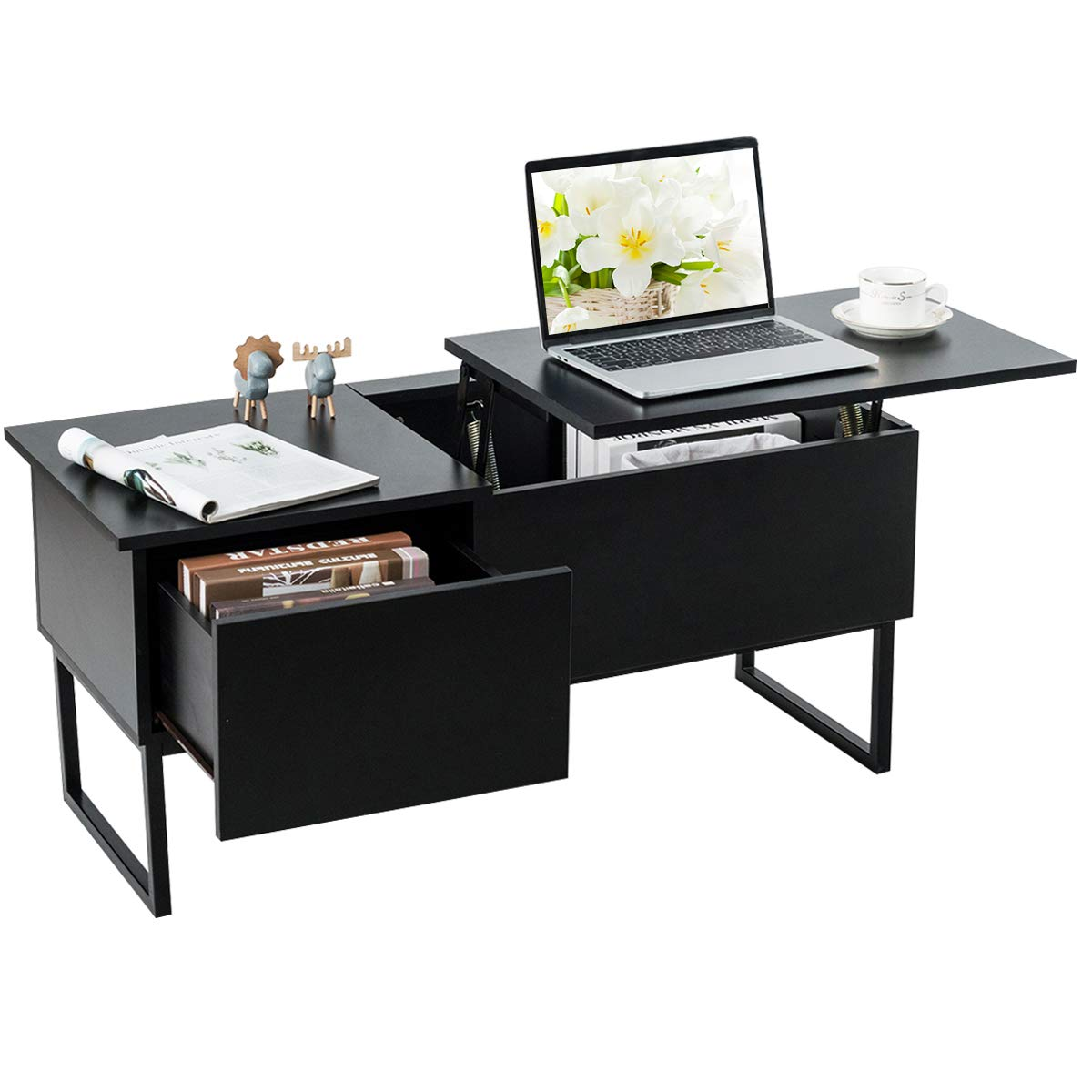 TANGKULA Lift Top Coffee Table, Modern Storage Coffee Table w/Hidden Compartment Lift Tabletop Furniture, Built-in Spring and Desktop Height Adjustable, Suitable for Home Living Room(Black) by Tangkula