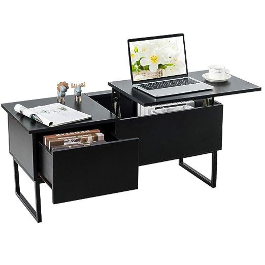 TANGKULA Mesa de café con parte superior elevada, moderna mesa de ...