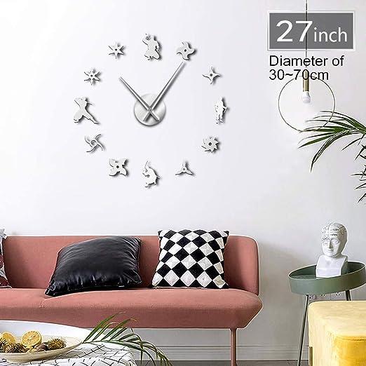 ACYKM 27inch Japonés Ninja silencioso Grande DIY Reloj de ...