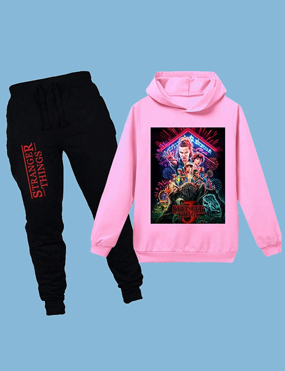 Sweatpants Boys Jogging Bottoms and Round Neck Hoodies Top Girls Pullover and Trousers Stranger Things Tracksuit 2 Pieces Sets Children Jogging Sportwear Kids Jogger Sweatshirt
