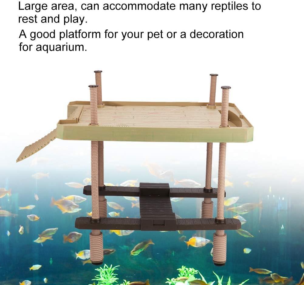 Hffheer Reptile Basking Platform Tortoise Sunbathe Pier/Aquarium Float Turtle Basking Platform Reptile Climbing Ramp Hammock Fish Tank Sunbathe Accessories