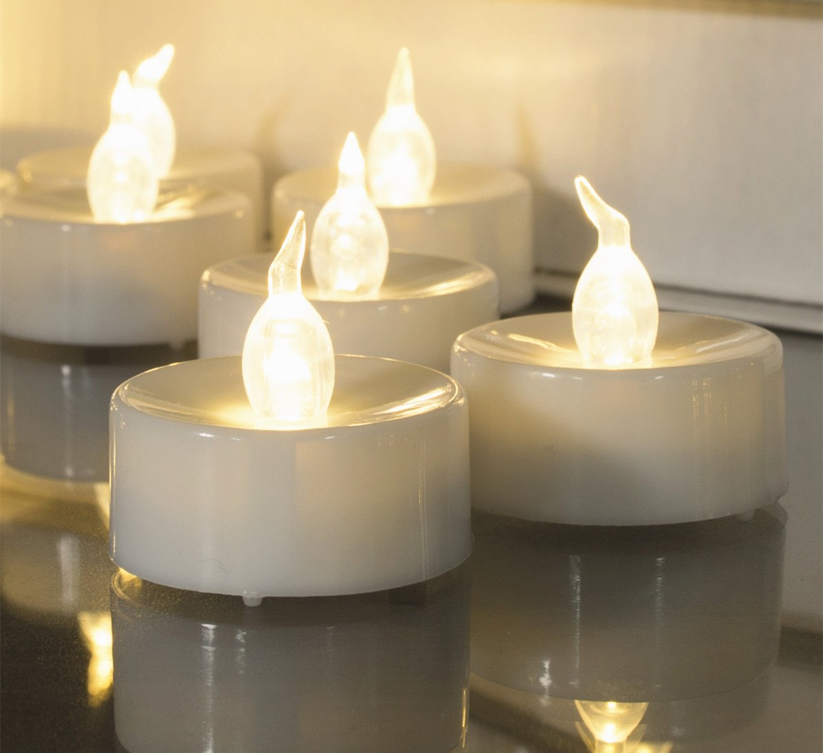Beichi 100 Pack Flameless LED Tea Light Candles, Battery Operated Votive Tealight Little Candles with Warm White Flickering Buld Lights, Small Electric Fake Tea Candles for Holiday, Wedding, Party by Beichi (Image #2)