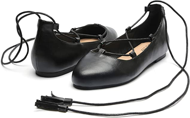 Wide Width Flat Shoes - Elastic Lace UP