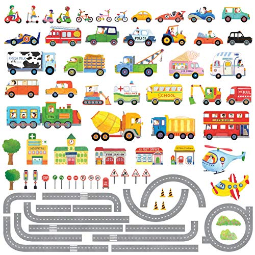 Decowall DAT-1404P1405 The Road and Transports Kids Wall Decals Wall Stickers Peel and Stick Removable Wall Stickers for Kids Nursery Bedroom Living Room ()