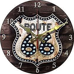 Grazing 12 Cute Cartoon Vintage Owl Design Arabic Numerals Rustic Country Tuscan Style Wooden Decorative Round Wall Clock (Bling 66)