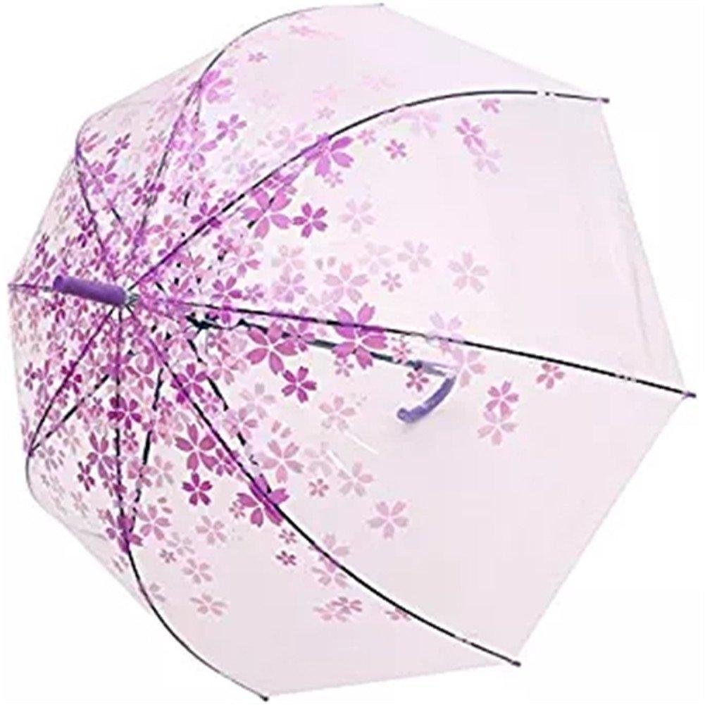 Tdogs Clear Umbrella, Romantic Bubble Dome Transparent Cherry Automatic Umbrellas for Rain (Purple)