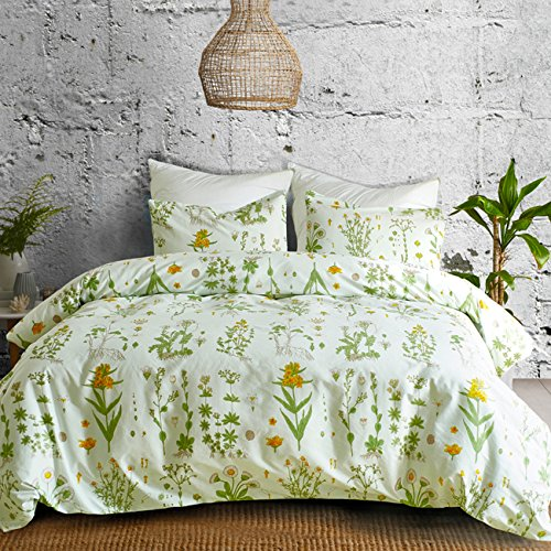 TanNicoor Herb Flowers Duvet Cover Set,Lightweight Microfiber Duvet Cover Set with Zipper Closure,Yellow Flowers and Green Plants Printed Pattern Design- Twin Size