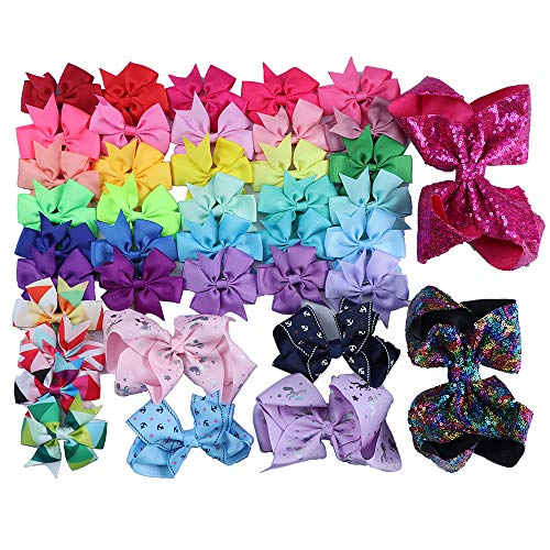 40PCS Hair Bow Clips for Baby Girls, Assorted Sizes Grosgrain Ribbon Boutique Hair Clips Barrettes with Alligator Clip Teens Kids Toddlers Gift (5 Different Size) by fani