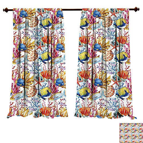 fengruiyanjing-Home Blackout Curtain Panels Window Draperies Ocean Coral Reef Scallop Shells Fish Figures Sea Plants Polyp Murky Nautical Multi Waterproof Window Curtain (W84 x L107 -Inch 2 Panels)