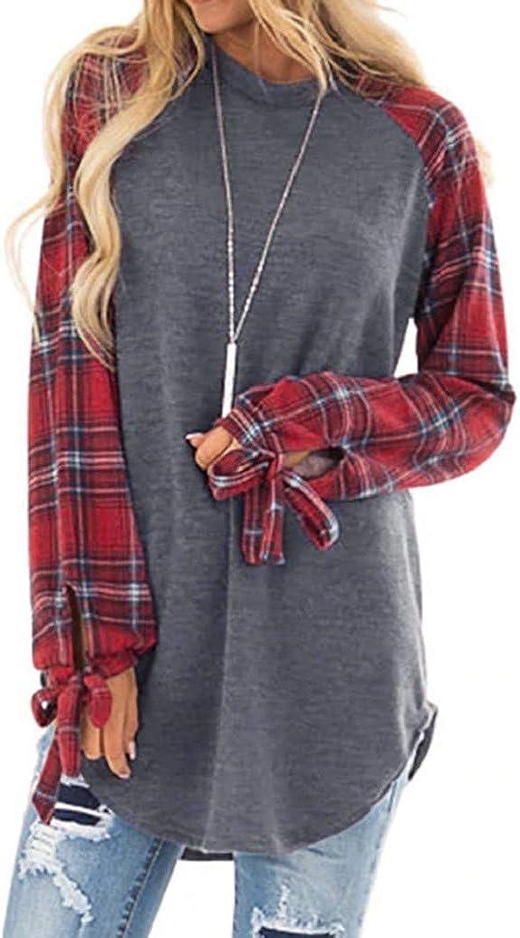 Christmas Shirt Women Christmas Reindeer Print Sequin Plaid Long Sleeve Raglan T-Shirt Casual Xmas Tops Blouse Sopzxclim