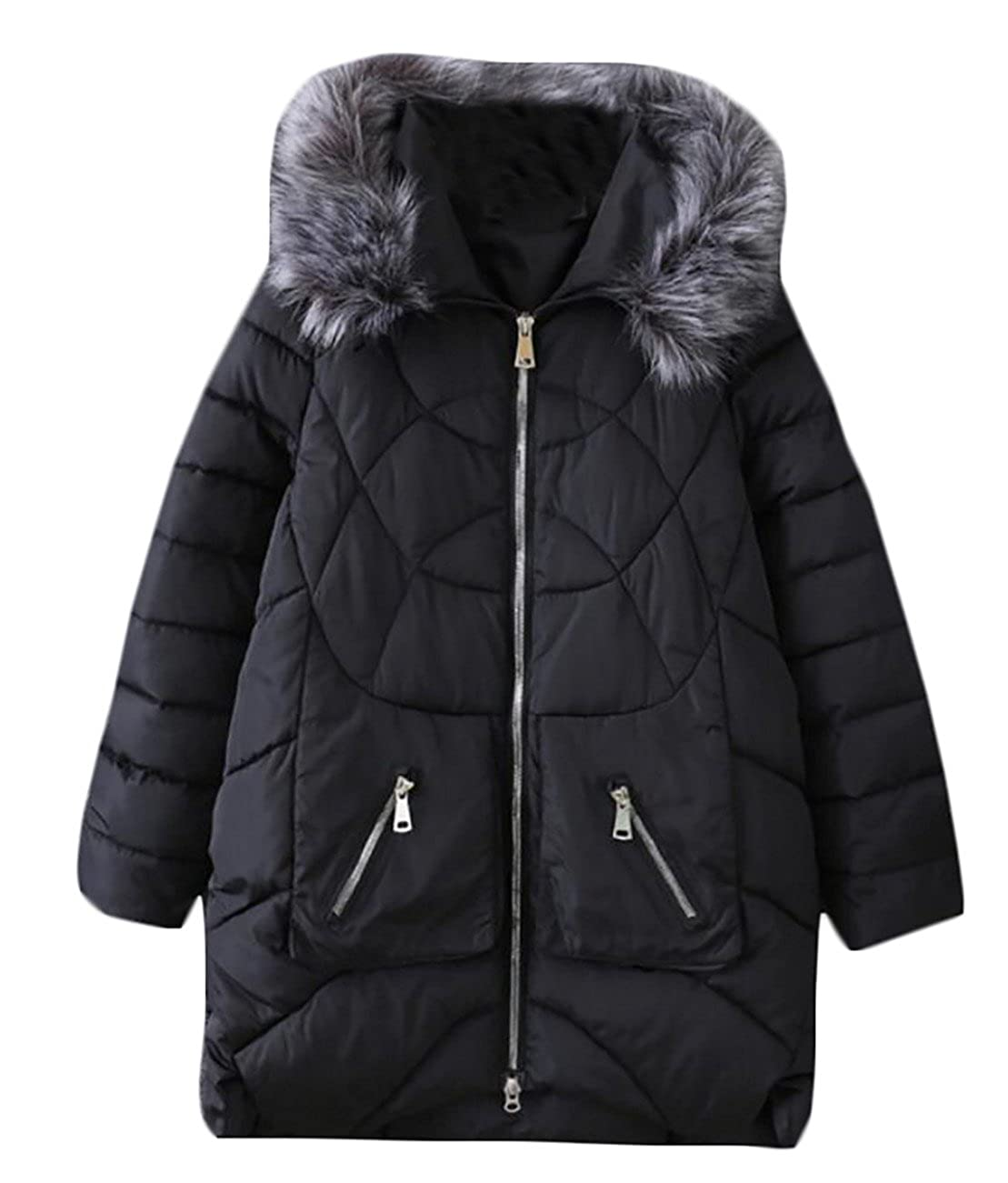 KLJR-Women Outwear Faux Fur Collar Hoodie Quilted Cotton Jacket Coat