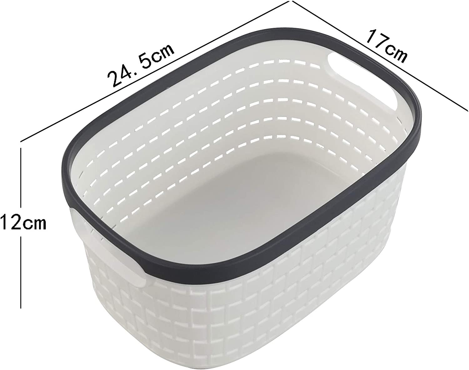 Fosly 6-pack White Small Handy Plastic Storage Baskets with Grey Frame
