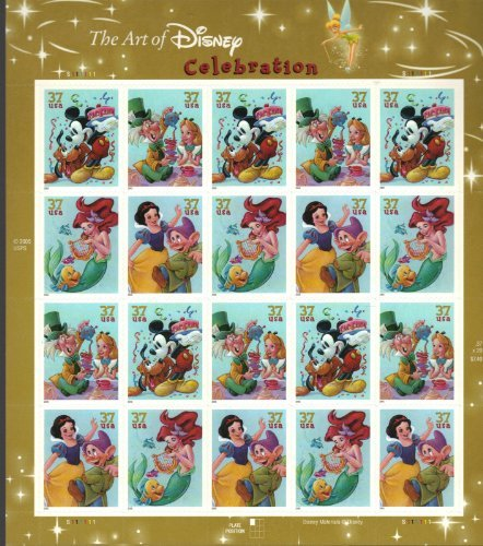 The Art of Disney: Celebration, Full Sheet of 20 x 37-Cent Postage Stamps, USA 2005, Scott (2005 Postage Stamps)