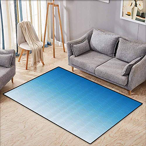 Kids Rug,House Decor Collection,Colorful Geometric Abstract and Curvy Waves Illustration Contemporary Design Pattern,Children Crawling Bedroom Rug,5'3