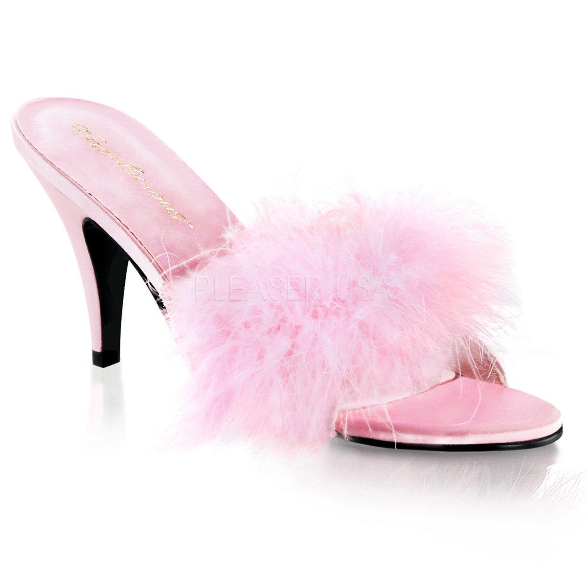 Pleaser Women's Amour-03 Sandal B00HVA0XTK 5 B(M) US|Baby Pink Satin-fur