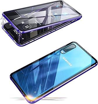 Funda Magnética para Samsung Galaxy A50 Estuche Ultra Delgado 360 Grados de Protección Caja Cubierta Antes y Trasera Pantalla Completa Transparente Vidrio Templado Flip Cover Marco Metálico Carcasa: Amazon.es: Electrónica