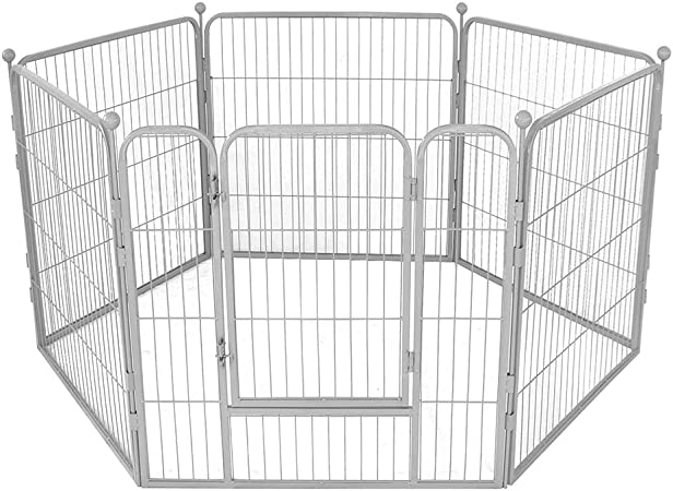Corral para Perro, Jardin Aire Libre Plegable Valla Jaula Parque Mascotas Entrenamiento Cubierta de Malla 6 Vallas con Puerta,Plata,70×70cm*6: Amazon.es: Hogar