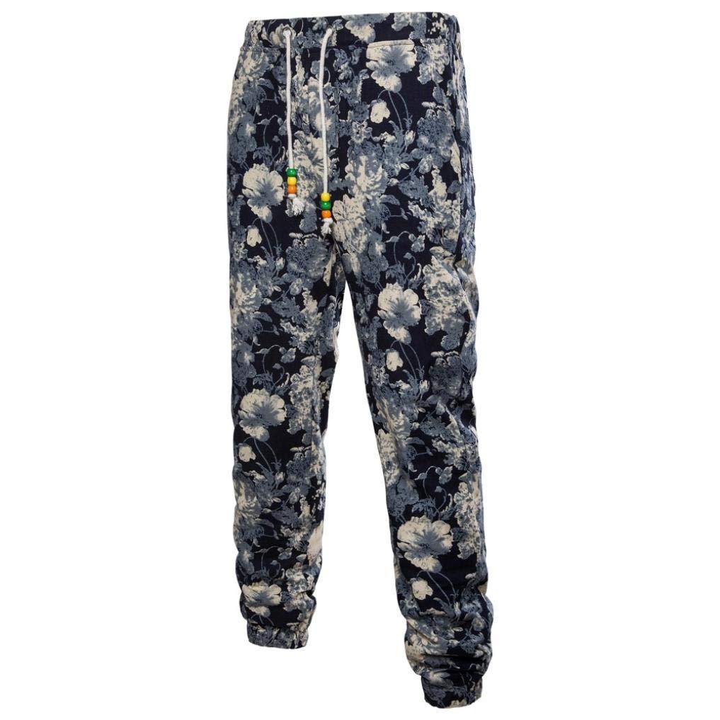 Realdo Clearance Mens Fashion Floral Print Trousers Sweatpants Elastic Waist Creative Comfy Pants(XXXX-Large,Black)