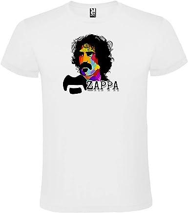 ROLY Camiseta Blanca con Logotipo de Frank Zappa Hombre 100% Algodón Tallas S M L XL XXL Mangas Cortas: Amazon.es: Ropa y accesorios
