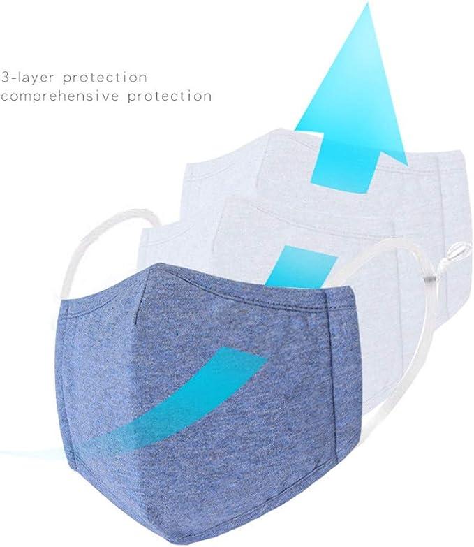Zolimx Kinder Jungen M/ädchen Gestreifter Druck Verstellbarer 3-Schicht-Filter Safet Protect Baumwolle 2PCS