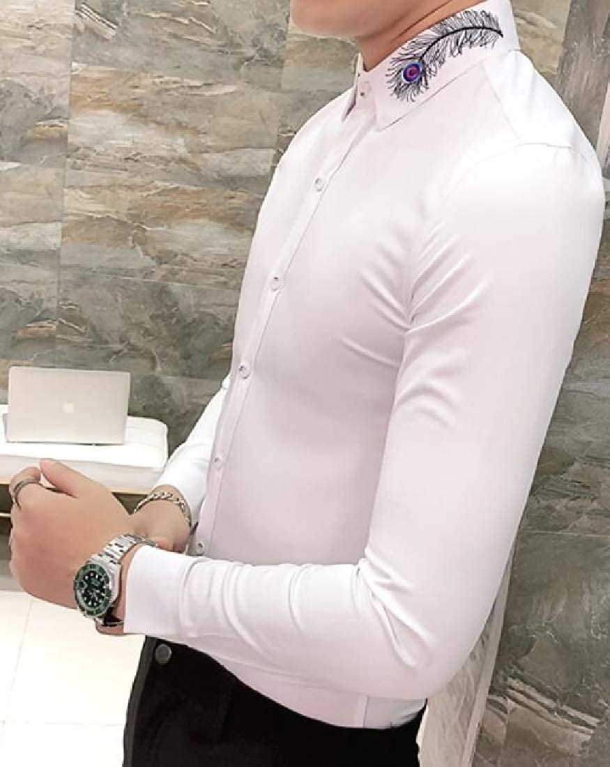 Domple Men Long Sleeve Slim Embroidery Pure Color Nightclub Trendy Button Down Dress Shirts