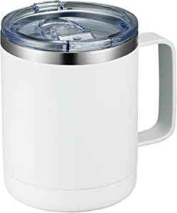 MEWAY 12oz Coffee Mug With Handle and Sliding Lid,Stainless Steel Travel Tumbler Cup with Handle,Double Wall Vacuum Insulated Camping Cup for Hot & Cold Drinks Tea (White,Set of 1)
