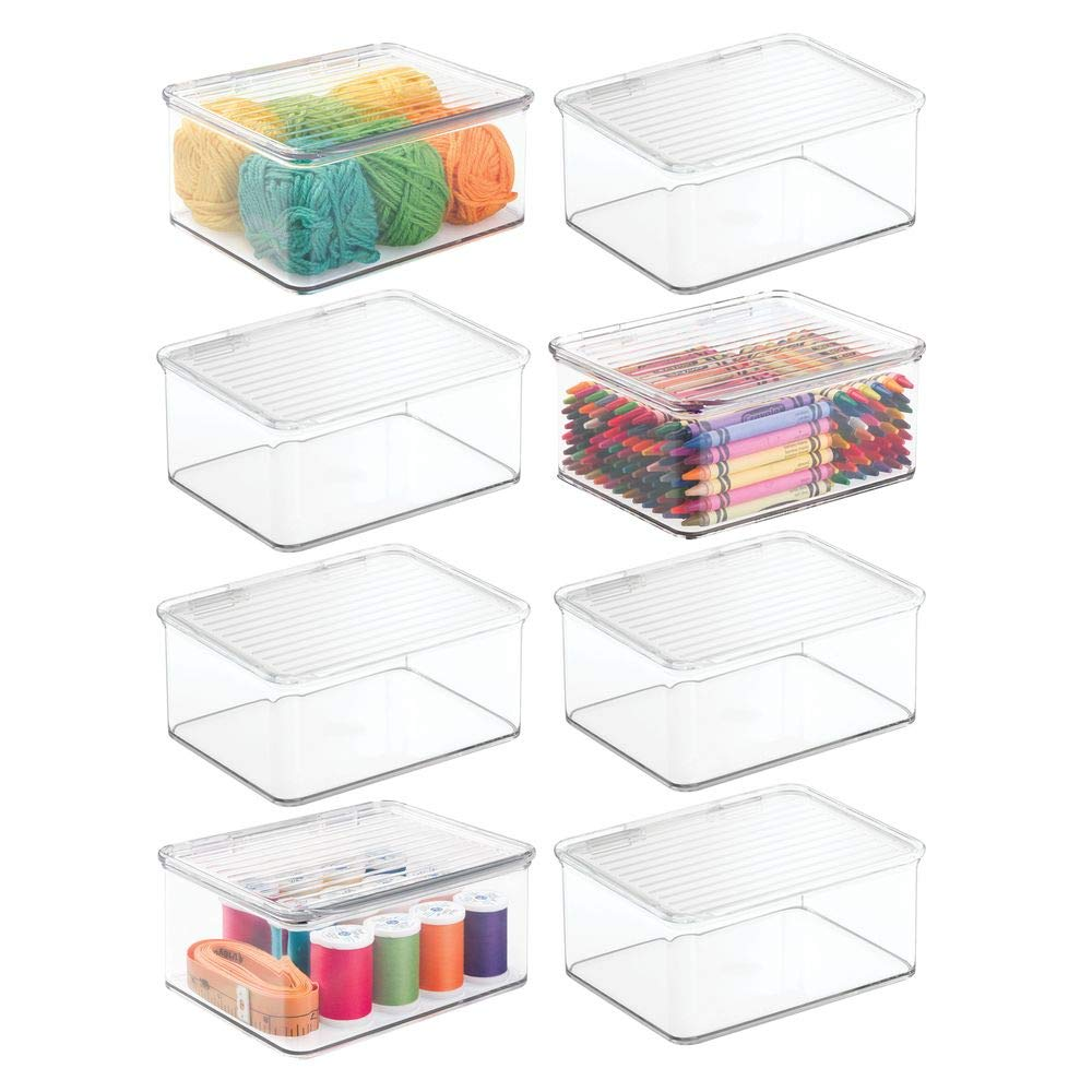 mDesign Stackable Plastic Craft, Sewing, Crochet Storage Container Bin with Attached Lid - Compact Organizer and Holder for Thread, Beads, Ribbon, Glitter, Clay - Small, 3'' High - 8 Pack - Clear by mDesign