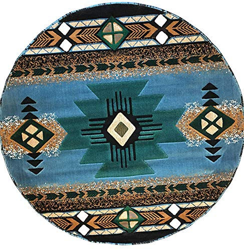 Concord Global Trading Southwest Native American Round Area Rug Blue Green Design C318 (5 Feet X 5 Feet Round)